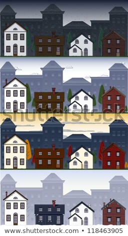 Set oraş suburban diferit clădirilor orizont Imagine de stoc © Linetale