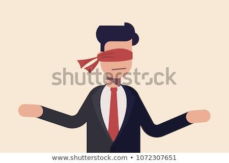 Indeciso cubierto empresario ojo mujer Foto stock © ra2studio