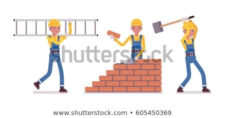 Construção equipe parede de tijolos retro Foto stock © studiostoks