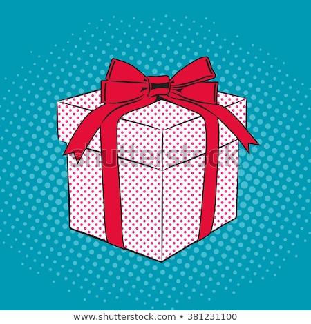 шкатулке полутоновой лента лук счастливым дизайна Сток-фото © kup1984