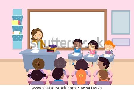 Gyerekek osztályterem kvíz méh illusztráció tanár Stock fotó © lenm