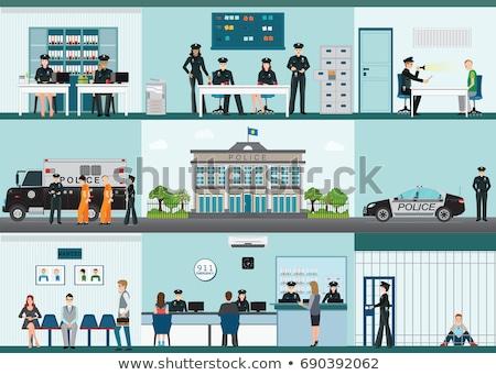 budynku · policji · dział · architektury · ulicy - zdjęcia stock © decorwithme