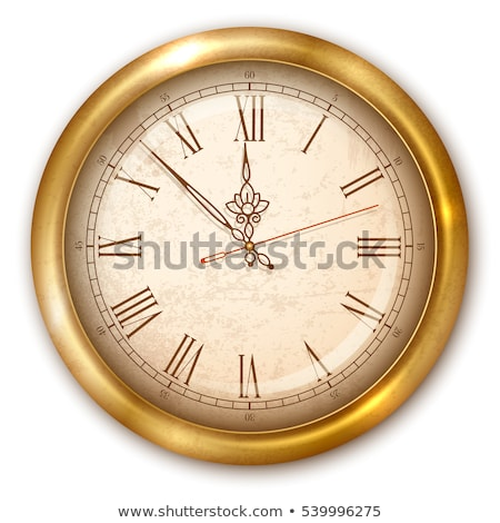 Vintage luxury golden wall clock with roman numbers isolated on transparent background Stock photo © Iaroslava