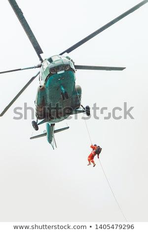 Helikopter kék ég repülés katonaság háború kék Stock fotó © vapi