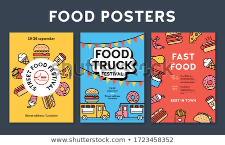 Noodle and Hot Dog Take Away Food Vector Posters Stock photo © robuart