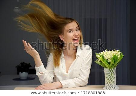 mooie · jonge · vrouw · lelie · bos · vrouw · glimlach - stockfoto © dashapetrenko