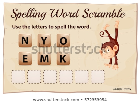 Spelling word scramble game template for monkey Stock photo © colematt
