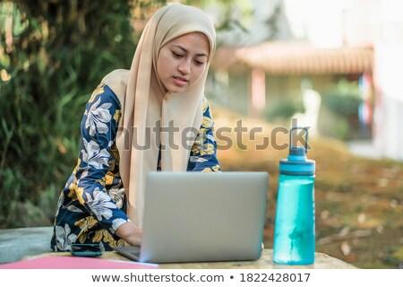 Fotó vonzó iszlám női diák visel Stock fotó © deandrobot