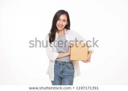 若い女性 ストレージ ボックス 白 女性 少女 ストックフォト © Elnur