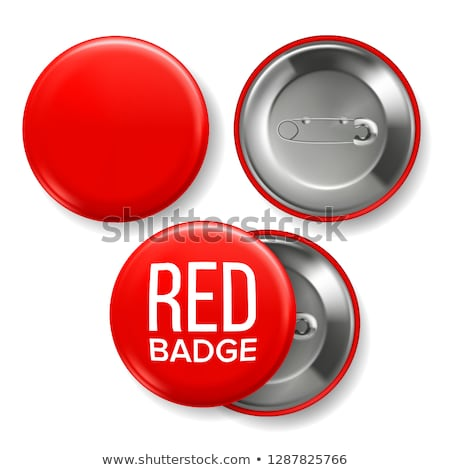 Red Badge Mockup Vector. Pin Brooch Red Button Blank. Two Sides. Front, Back View. Branding Design 3 Stock photo © pikepicture