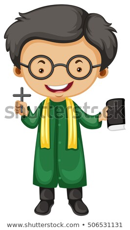 Preist with holy cross and bible Stock photo © colematt