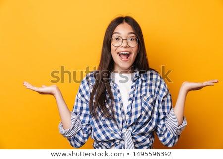 Gyönyörű megrémült fiatal érzelmes nő pózol Stock fotó © deandrobot