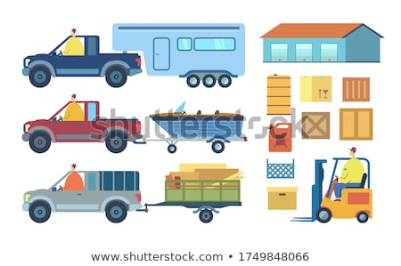 Car with Trailer and Man Set Vector Illustration Stock photo © robuart