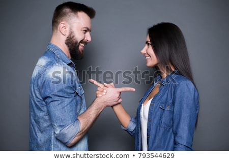 embraced casual man and woman looking at each other stock photo © feedough