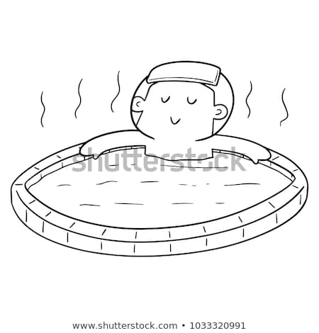vector set of people bathing in hot water pool Stock photo © olllikeballoon