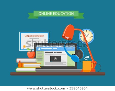 laptop with online courses and lamp with pencil stock photo © robuart