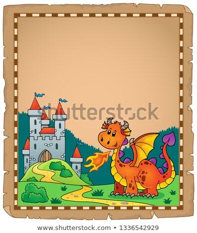 Foto stock: Dragón · castillo · pergamino · papel · fuego · edificio