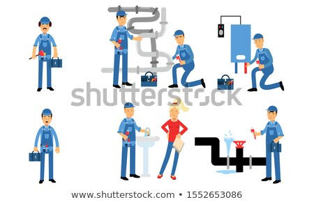 Man Calling Plumber To Fix Sink Pipe Leakage Stock photo © AndreyPopov