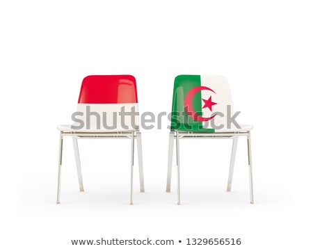 Iki sandalye bayraklar Endonezya Cezayir yalıtılmış Stok fotoğraf © MikhailMishchenko