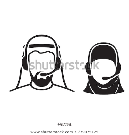 call center operator with headset arab people icon and client se stock photo © nikodzhi