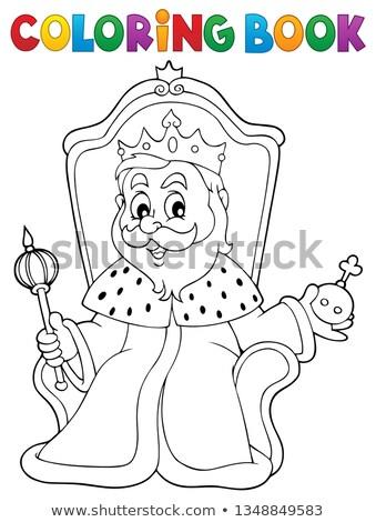 Boyama Kitabi Kral Taht Kitap Sanat Tac Vektor