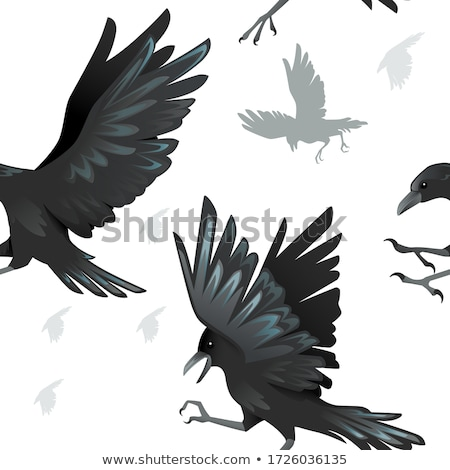 Seamless background design with crows flying Stock photo © colematt