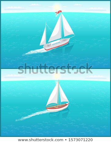 Sail Boat with White Canvas, Fishery Ship Sailing Stock photo © robuart