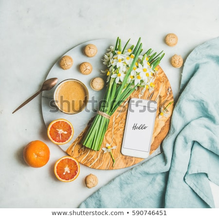 Hello spring card with coffee and narcissus flowers bouquet Vector realistics Stock photo © frimufilms