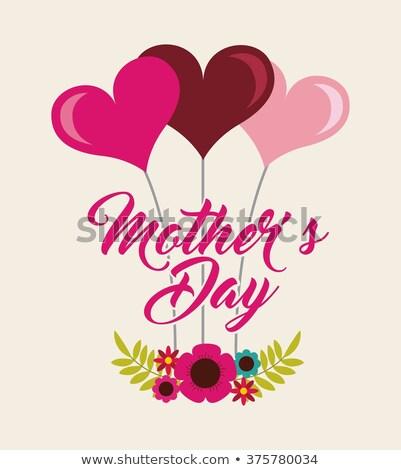 Feliz dia das mães cartão projeto coração tipografia Foto stock © articular