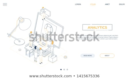 Gegevens analyse lijn ontwerp stijl isometrische Stockfoto © Decorwithme