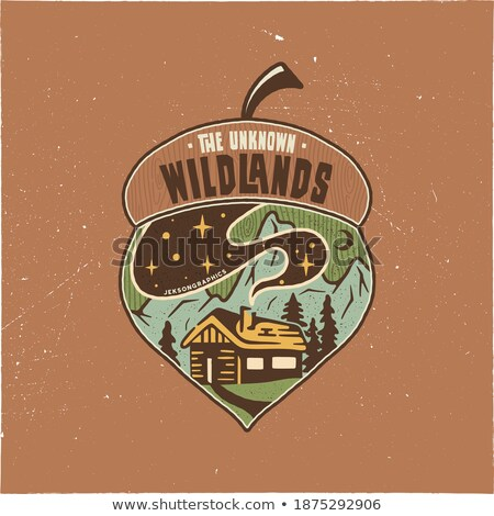 Vintage Camping badge acorn illustration design. Outdoor logo with quote - The unknown wildlands, fo Stock photo © JeksonGraphics