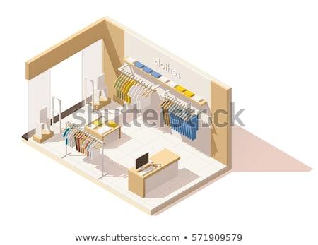 vector isometric clothing store interior stock photo © tele52