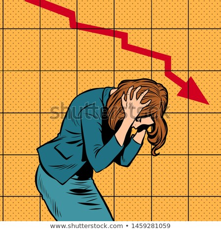 businesswoman woman panic, bankruptcy financial collapse. sales schedule down Stock photo © studiostoks