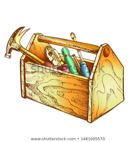 Color Vintage Wooden Toolbox With Old Instrument Vector Stock photo © pikepicture