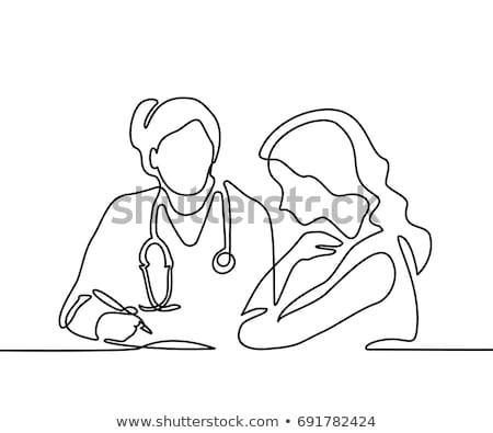 hospital patient and doctor continuous line stock photo © patrimonio