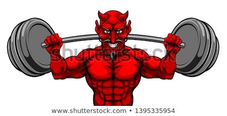 дьявол тело строителя спортивных талисман Сток-фото © Krisdog