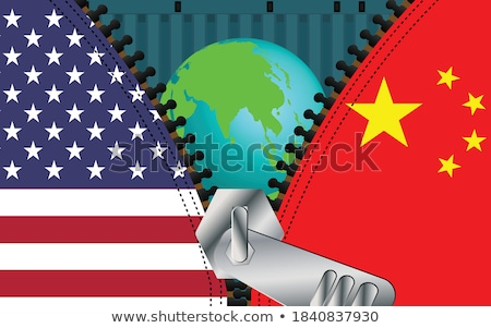 US China Trade Relations People with Flags Meeting Stock photo © robuart