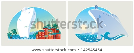 couples on cruise liner vacation on ship vector stock photo © robuart