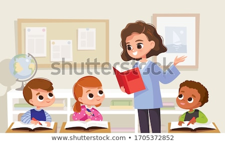 Classmate and Classroom, Pupils with Books Vector Stock photo © robuart