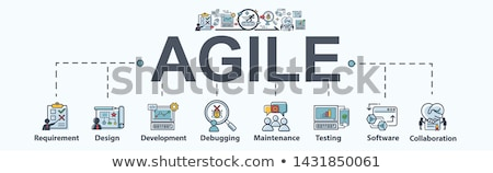 Scrum Agile Minimal Infographic Banner Vector Stock photo © pikepicture
