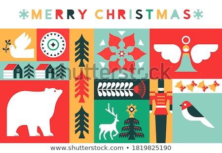 Merry Christmas retro mid century pine tree card Stock photo © cienpies