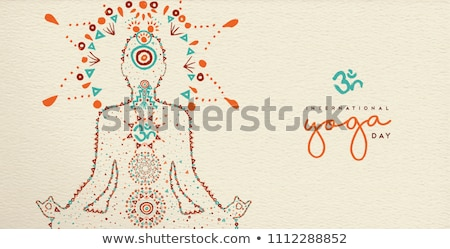Yoga Day banner of abstract woman in lotus pose Stock photo © cienpies