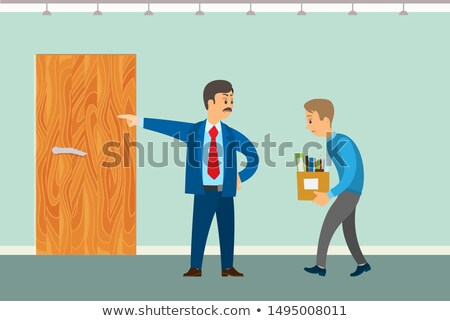 Dismissal of Worker Vector Poster. Boss Chuck out Stock photo © robuart