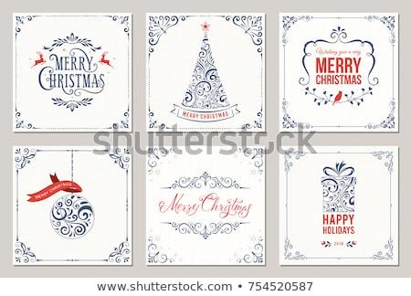 Karácsonyi üdvözlet aranyos rénszarvas ajándékdobozok terv vektor Stock fotó © balasoiu