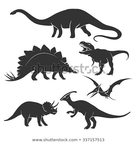 Retro dinosaur silhouette Stock photo © barsrsind