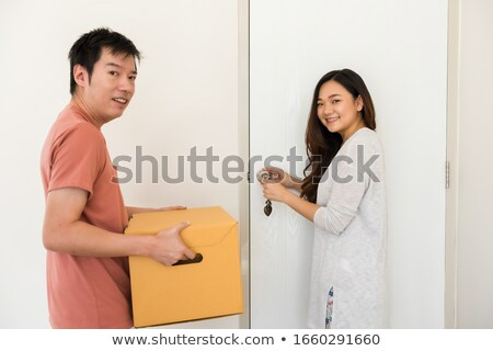 gelukkig · voordeur · huis · glimlach · home - stockfoto © feverpitch