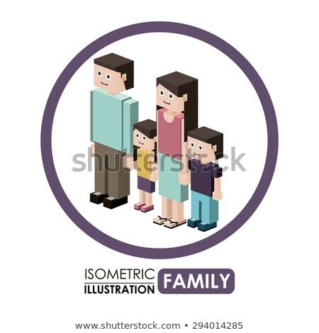Família isométrica ícones digital vetor pessoas felizes Foto stock © frimufilms
