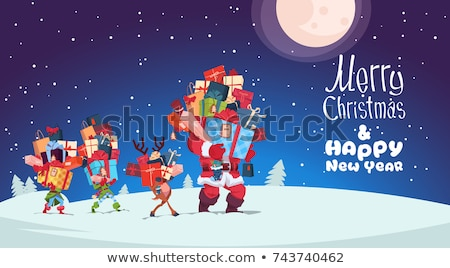 Merry Christmas with Elf Carrying Gift Vector Stock photo © robuart