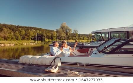 Kobieta człowiek relaks rzeki jacht lata Zdjęcia stock © Kzenon