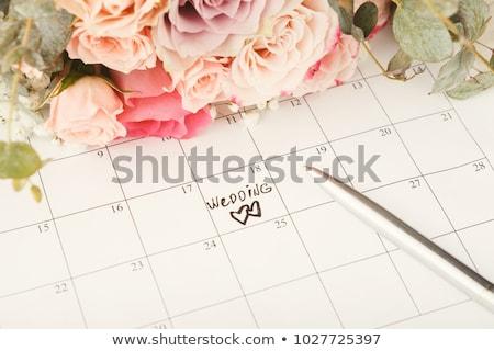 Bruiloft datum uitnodiging ceremonie paar engel Stockfoto © robuart